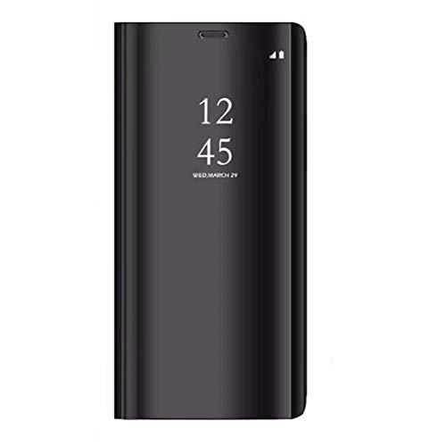 Xiaomi Redmi 5 Plus Funda, Flip Tapa Libro Carcasa - Modelo Fecha y Espejo Brillante tirón del Duro Case, Espejo Soporte Flexible Plegable en Reflectante para Xiaomi Redmi 5 Plus (Negro)