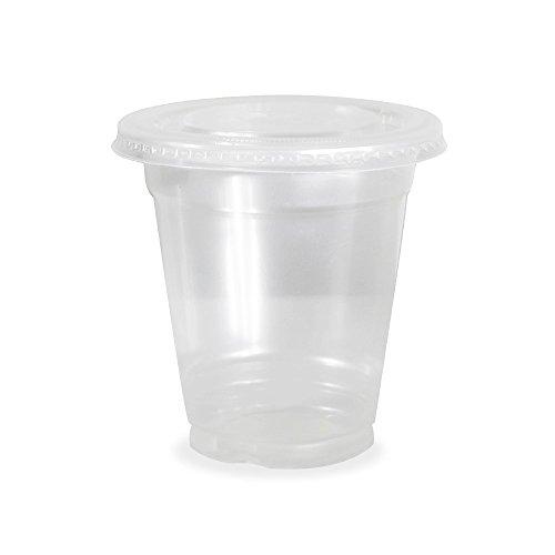 Klar Cups mit flachen Deckel für Eiskaffee Bubble Boba Tee Smoothie, 20oz, 100Stück (20 Oz-kunststoff-klar-cups)