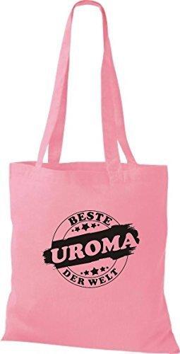 ShirtInStyle Stoffbeutel Baumwolltasche Beste UROMA der Welt rosa