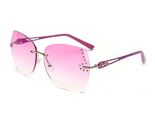 ALWAYSUV Sonnenbrille Modische Sonnenbrille mit Strass Pink Lens Fashion Sunglasses (Pink Womens Strass)