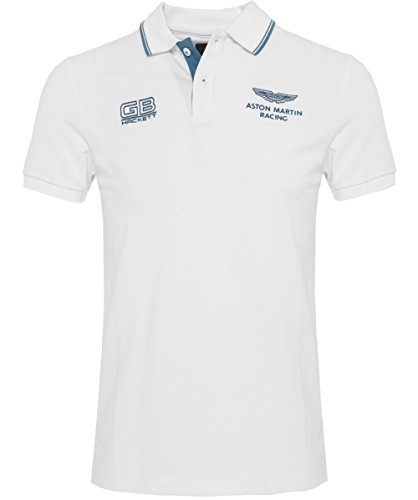Hackett Uomo Slim Fit Aston Martin Racing doppia punta Polo Shirt Bianco M