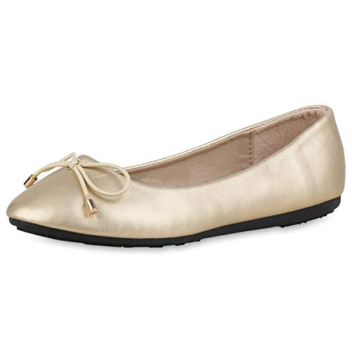 SCARPE VITA Damen Klassische Ballerinas Schleifen Slipper Slip On Schuhe Flats 174449 Gold Metallic 39 Metallic-ballet Slippers