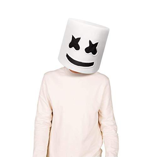 Funhoo Marshmallow Kopfbedeckungen DJ Elektronische Musik Festival Fest Gummi Maske Atmungsfähig für Nachtclub Bar Party Cosplay Kostüme Halloween