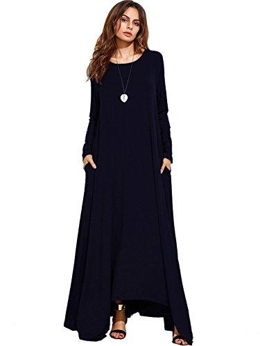 Nasky donna estivi vestiti senza maniche gonna lunga maxi vestito casual scollo v abiti estivo sexy (small, l-blu navy)