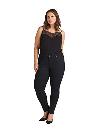 Zizzi Amy Hose Große Größen Damen Slim Fit High Waist Stretch Jeggings, Schwarz, 46-48 (M)