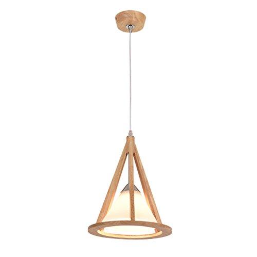 TMY Moderne Massivholz Kronleuchter Glas Lampenschirm Geometrische Anhänger Kreative Restaurant Bar Deckenleuchte E27 (Color : Tapered-25 * 30CM) -