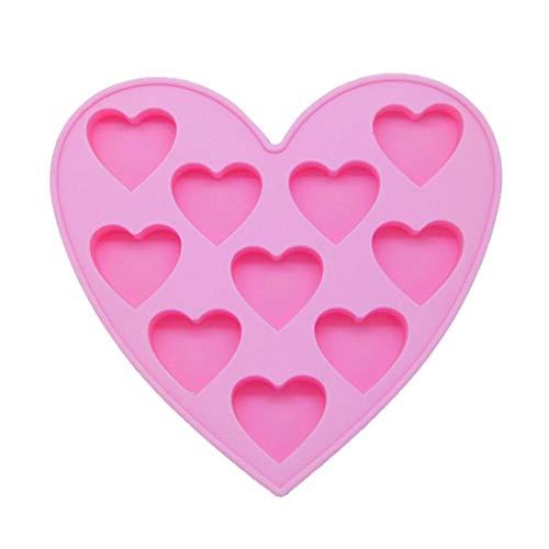 aiyvi 10 Raster Pfirsich-Herz Eiswürfelformen Eisgitter Eisform Eiswürfelform Silikon-Eiswürfelform Herzförmig (Rosa, 15,8x15x1,5cm)