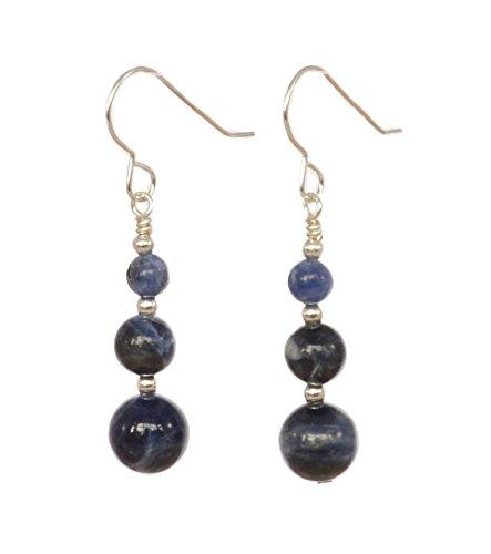 Denim blu sodalite & orecchini pendenti in argento sterling con scatola regalo