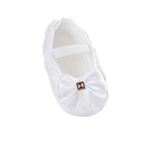 Elecenty scarpe per bambini antiscivolo da bambina con fiocco rosa maglieria (size:11, bianco)