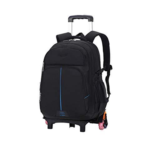 Zaino Trolley Borsa Ruote Alta Capacità - Studente Neutro Durevole Impermeabile Viaggio Scuola Staccabile Super Leggero Daypack Blu 6 Ruote