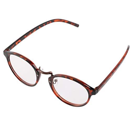 Unisex Mann eine Frau im klassisch Geek Weinlese-große Rahmen Modische runde freie Objektiv-Gläser perfekte Geschenk BZ043 (Klassische Print Stärken)