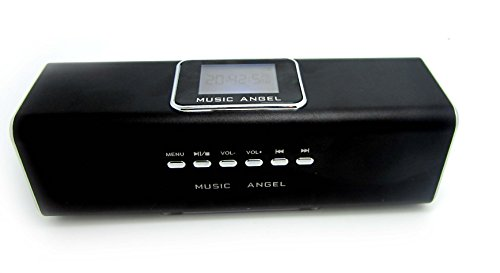Music Angel- FM-Radio/MP3 Player - Line In / MicroSD - Stereo Lautsprecher / Boxen / Soundstation / für Handy, PC, LAPTOP, NETBOOK, Tablet - Farbe Schwarz