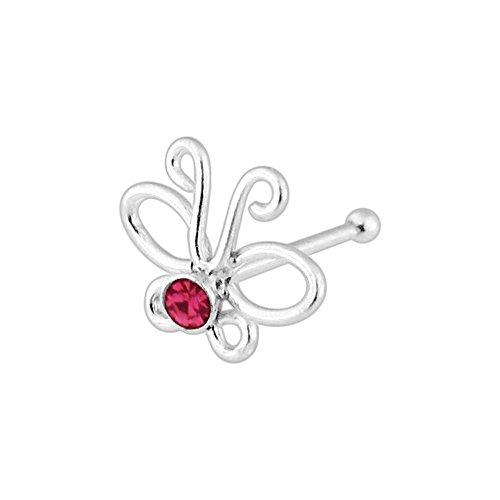 Monster Piercing Rosa Kristall Stein Ausgeschnitten Schmetterling 22 Gauge 925 Sterlingsilber Ball Ende Nase Gest?t Schmuck