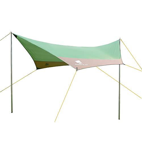 Auting Sonnensegel Tarp Außenzelt Wasserdicht 4-7 Personen für Camping - 440x410 cm (3.4 kg) - Inklusiv Zeltstangen (Grün)