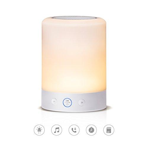 Tomons LED Tischlampen, Touch Farbwechsel Stimmungslicht, Warmweiß, Tragbarer Bluetooth Lautsprecher mit Mikrofon, SD-Karten-Slot, FM-Radio Clean Radio
