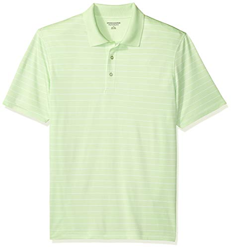 Amazon Essentials Regular-Fit Quick-Dry Stripe Golf Polo Shirt Poloshirt Herren, Lime Green, US S (EU S) -