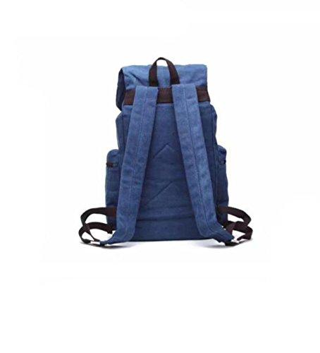 Große Kapazität Leinwand Rucksack Multifunktionale Umhängetasche Outdoor-Reisetasche Darkblue