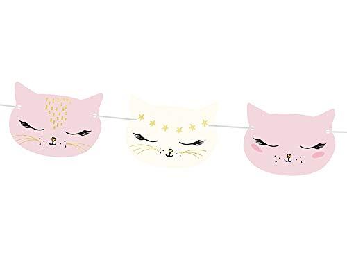 Party-Girlande Katze Baby-Shower-Party Mädchen / Banner Deko-Ration Kinder-Geburtstag Motto-Party Prinzessin Tier-e / Raum-Dekoration Accessoires Kätzchen