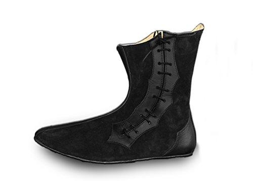CP-Schuhe Mittelalter Halb-Stiefel Echt-Leder (42, Schwarz)