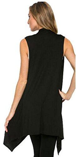 Cardigan Donna Maglione Manica Lunga anteriore aperto Camicetta Mantelle Giacca Cappotto Cardigan Maglioni di Maglia Maglieria Knitted Tops Nero
