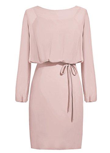 Dresstells, robe courte de demoiselle d'honneur mousseline manches longues, robe de mère de mariée Bordeaux