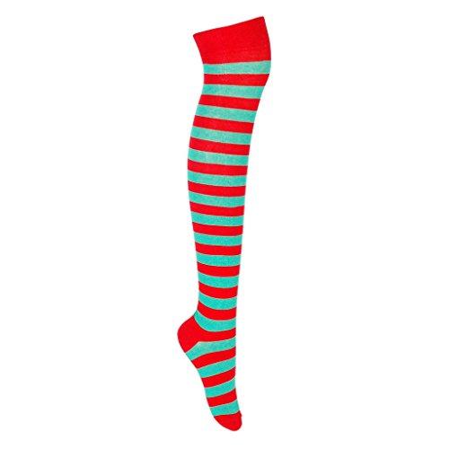 adam & eesa Gestreifte Overknee Socken für Frauen in trendigen Farben 1 oder 3 Paar Überkniestrümpfe Ringelsocken EU-Größe 37-39.5