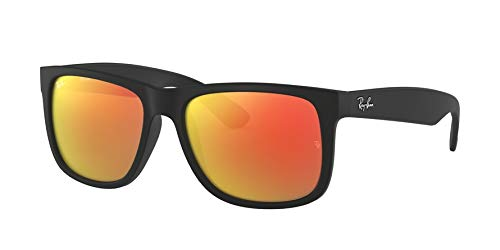 Ray Ban Unisex Sonnenbrille Justin Gestell: Schwarz, Gläser: Rot Verspiegelt 622/6Q), Medium (Herstellergröße: 51)