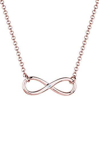 Diamore Halskette Damen Halskette mit Infinity Anhänger und Diamant (0.03 ct.) in 925 Sterling Silber 45 cm lang