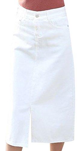 erdbeerloft - Damen Casual High Waist Midirock, XS-XL, Viele Farben Weiß