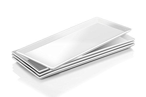 Dowan porcellana piatti da portata/piatti rettangolari–4confezioni, bianco naturale