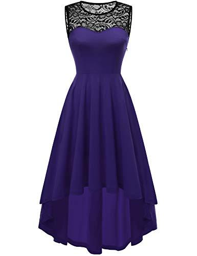 YOYAKER Damen Vintage Retro Spitzen Rundhals Ärmellos Cocktail Party Abendkleider Purple S