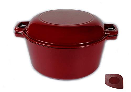Pinnacle Cookware - Set di pentole in ghisa smaltata, con coperchio, 4,73 litri, per piani cottura a gas, elettrici, a induzione, in forno, per cottura all\'aperto, 6 kg