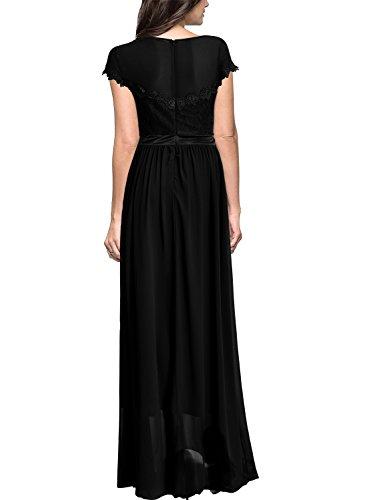 MIUSOL Robe de Soirée Dentelle Cocktail Longue Pour Mariage Femme,Fleur Robe de Fete Col Rond Femme Vintage Retro Manches Courtes Noir