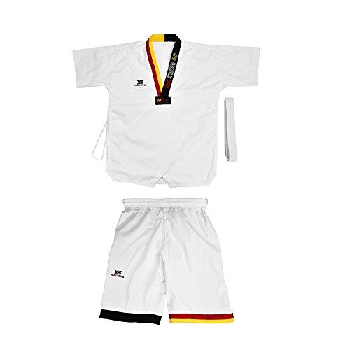 Dilwe Uniforme di Taekwondo 1 Set Manica Corta Taekwondo Traspirante Cotone Pieno Regolabile con Cintura Vita per Adulti Bambini Taekwondo Karate