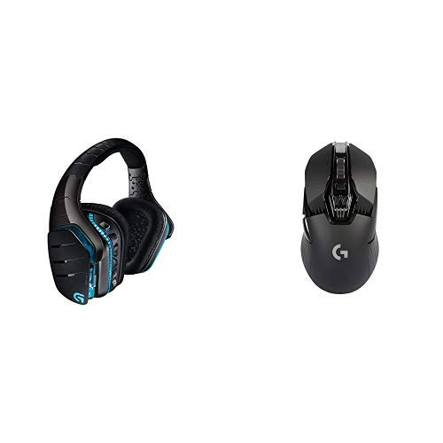 Logitech G933 Cuffia Wireless con Microfono per PC/Xbox One/PS4, Audio Surround 7.1, Nero + Logitech G900 Mouse da Gioco Wireless, Chaos Spectrum, Nero