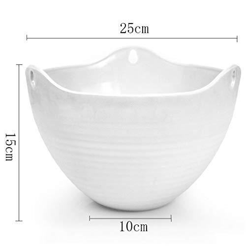 Frf vaso di fiori- giardino pensile appeso vaso da fiori in plastica, vaso da fiori in resina di balcone (colore : bianca, dimensioni : 21x12.5cm)