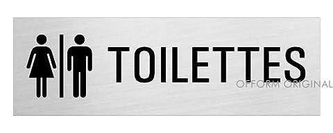 Pictogramme Toilettes - OFFORM Plaque de porte en aluminium brossé