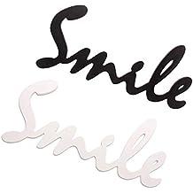 B Blesiya 2 Unids Smile Placa de Madera No Tóxico Colgante de Pared Adornos de Fondo