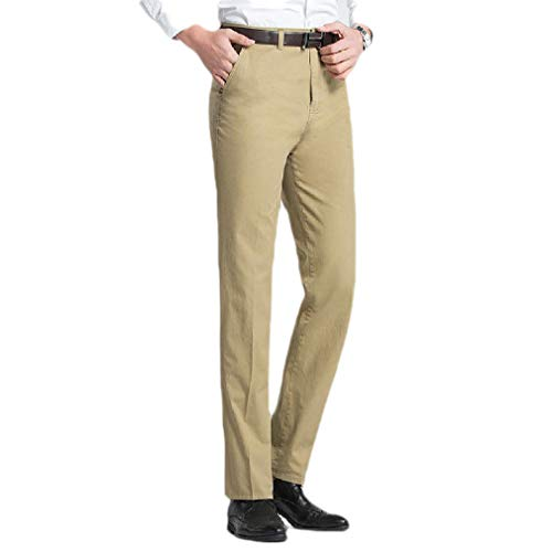 CuteRose Mens Cotton High Waist Non-Iron Business Casual Straight-Fit Pant 3 28 - Cell Extender