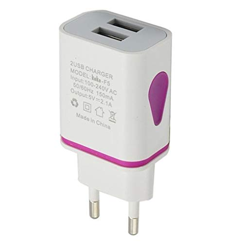 lorjoy USB Cargador de Pared Doble Puerto 2A Salida del Recorrido del Enchufe Adaptador de alimentación Compatible para el teléfono Enchufe de la UE