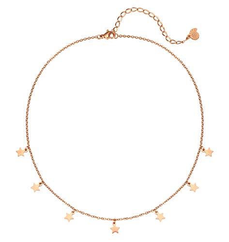 Happiness Boutique Collana Stella Oro Rosa | Delicata Collana con Piccoli Pendenti Stella Bijoux Acciaio Inossidabile