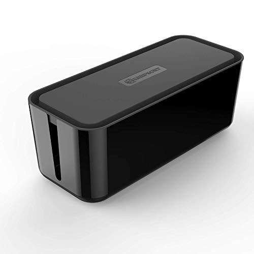 KEEPSORT® Extra Große Kabelbox für maximale Sicherheit im Haushalt - Kabel Organizer zum Verstauen von Steckdosenleisten, Ladeadaptern, Routern UVM. (XXL, Schwarz) -