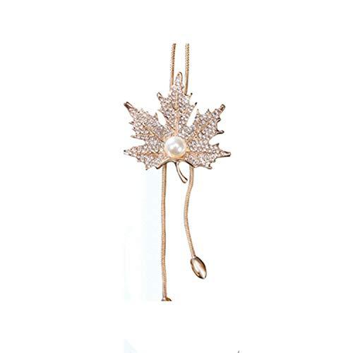 Damen Halsketten mit Eulen-Anhänger, modisch, Kristall, Schwarz Einheitsgröße Gold-Maple Leaf -