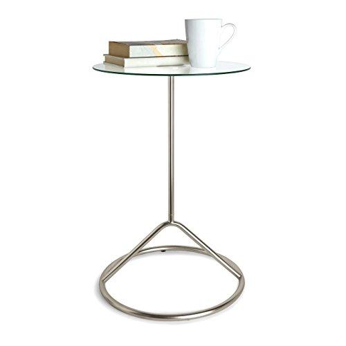 UMBRA Loop Side Table. Table d'appoint Loop. Pied nickel et plateau de verre, dimension 38.1 de diamèter x 56cm de haut.