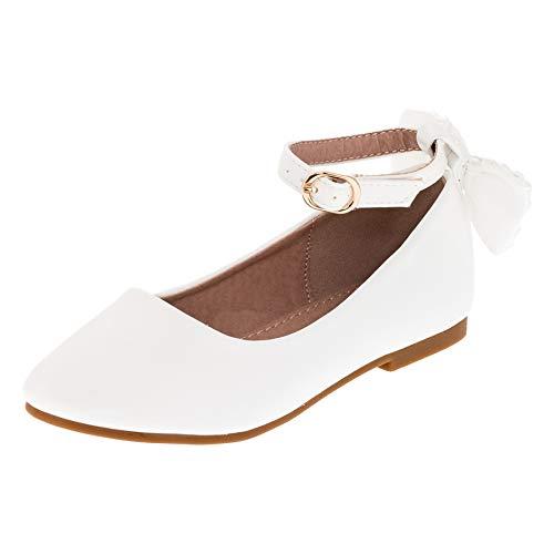 nder Mädchen Ballerinas Schuhe mit Zierblume M420ws Weiß 35 ()