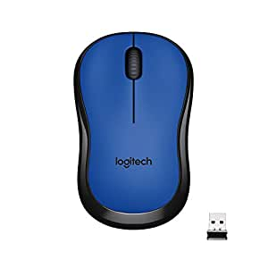 Logitech M221 Wireless Mouse, Silent Buttons, 2.4 GHz with USB Mini Receiver, 1000 DPI Optical Tracking, 18-Month Battery Life, Ambidextrous PC/Mac/Laptop - Blue