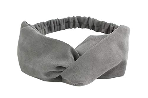 Vogue Hair Accessories Korean Style Solid Fabric Knot Stretchable Hairband Headband for Girls and Woman (Grey)