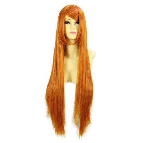HOOLAZA Orange Lange Gerade Cosplay Perücke Neon Genesis Evangelion Eva Asuka Langley Soryu Inoue Orihime Cosplay ()