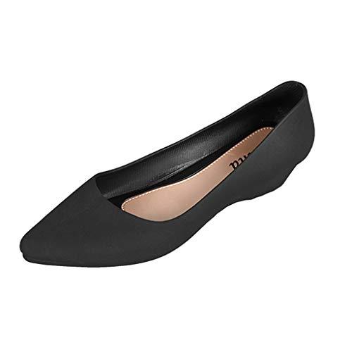 2019 Mujer Zapatos De Uniforme, Bailarinas con Cuña Plataforma Bombas Zapatos De Vestir Punta Estrecha...