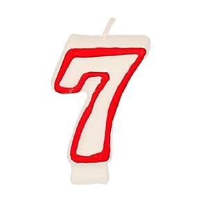 Partygram - Vela de Cumpleaños Número 7 - Blanca con Filo Rojo